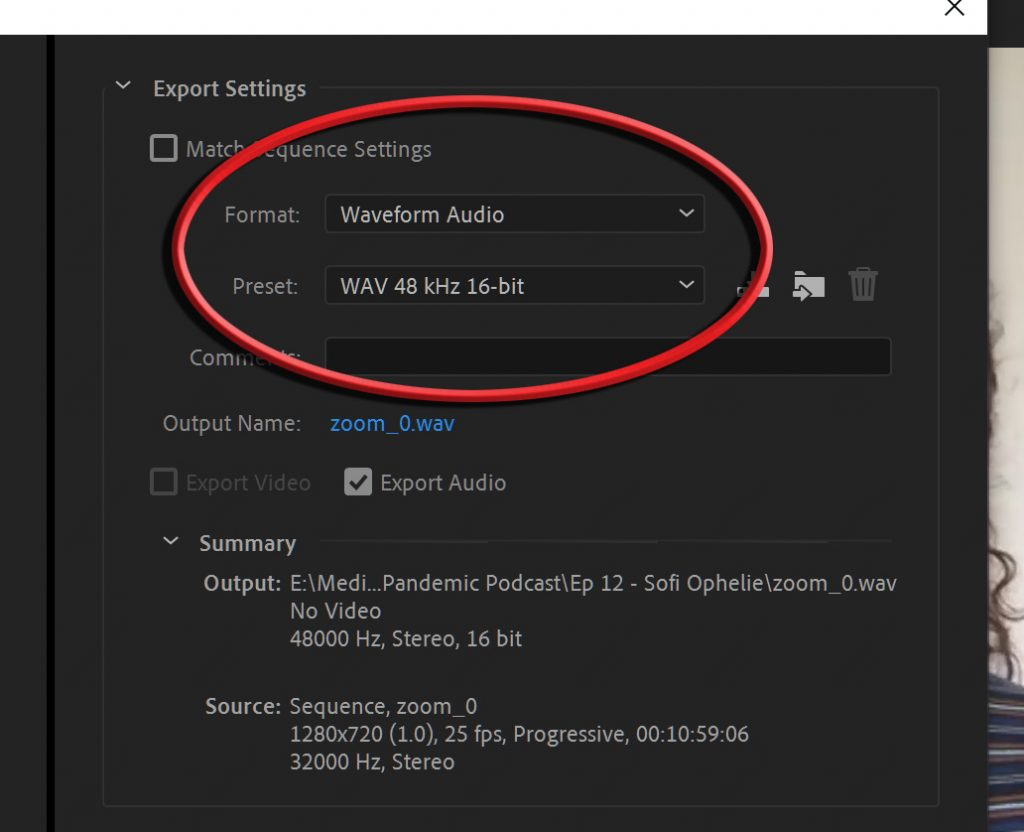 Adobe Premiere screen cap showing export settings for audio