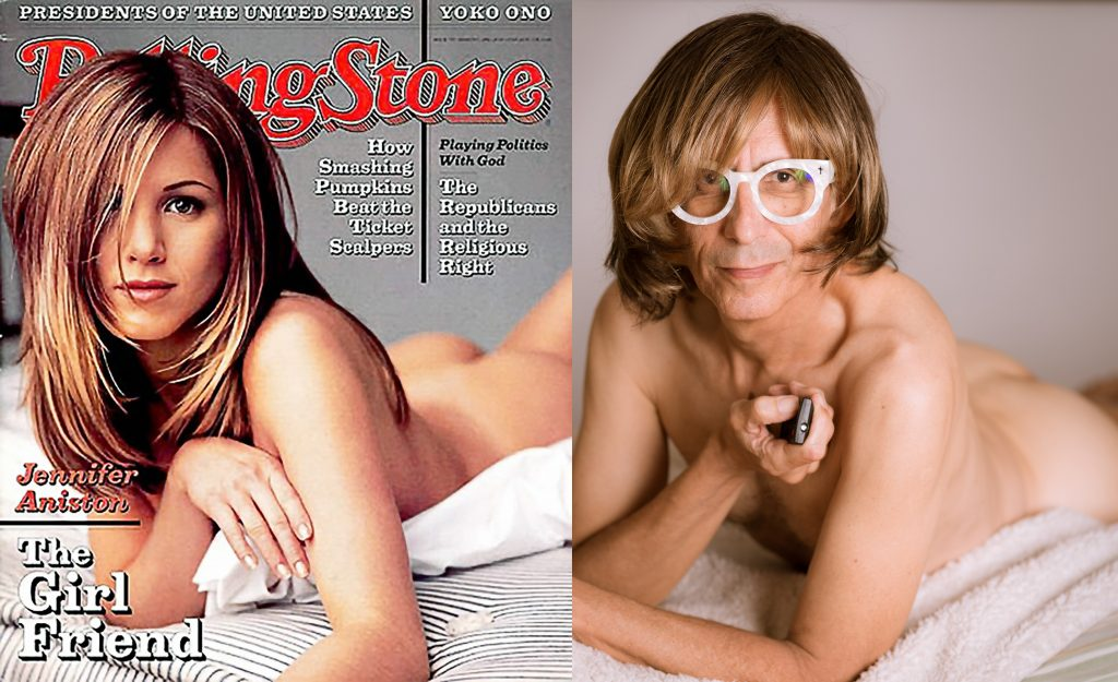 diptych of Jennifer Aniston on the cover of Rolling Stone magazine, 1996, and Glenn Zucman performing her pose from that cover.