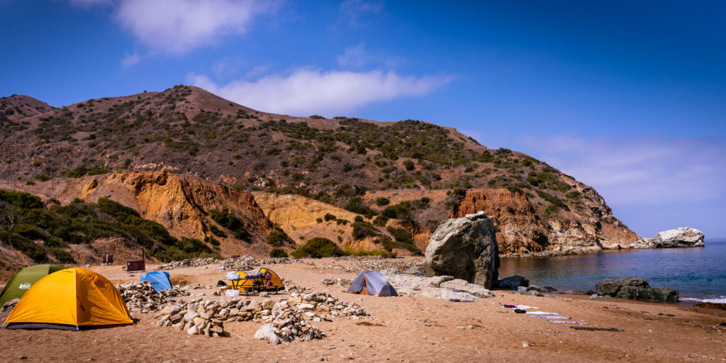 View of tents on the beach at Parsons Landing on the West End of Santa Catalina Island