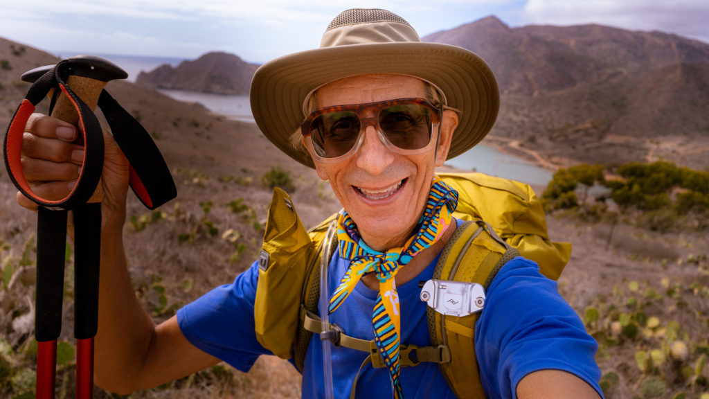 Glenn Zucman hiking along the Trans-Catalina Trail on Santa Catalina Island