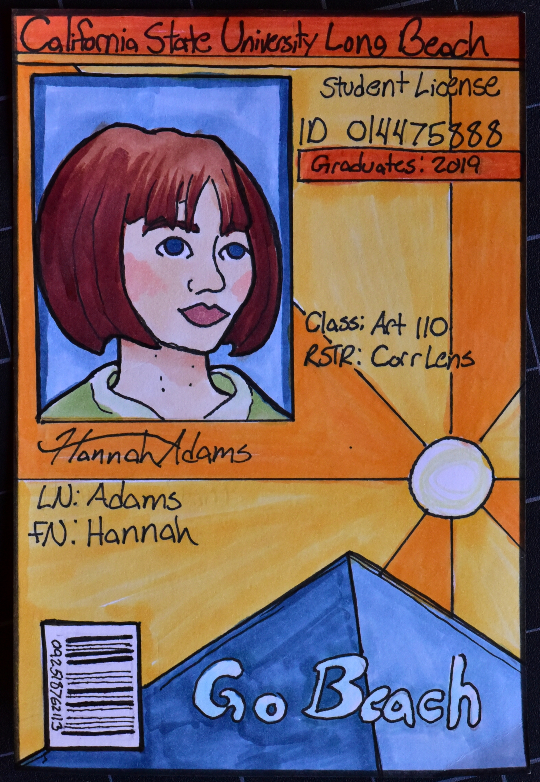 Hannah Adams' Colored Marker ID Cards