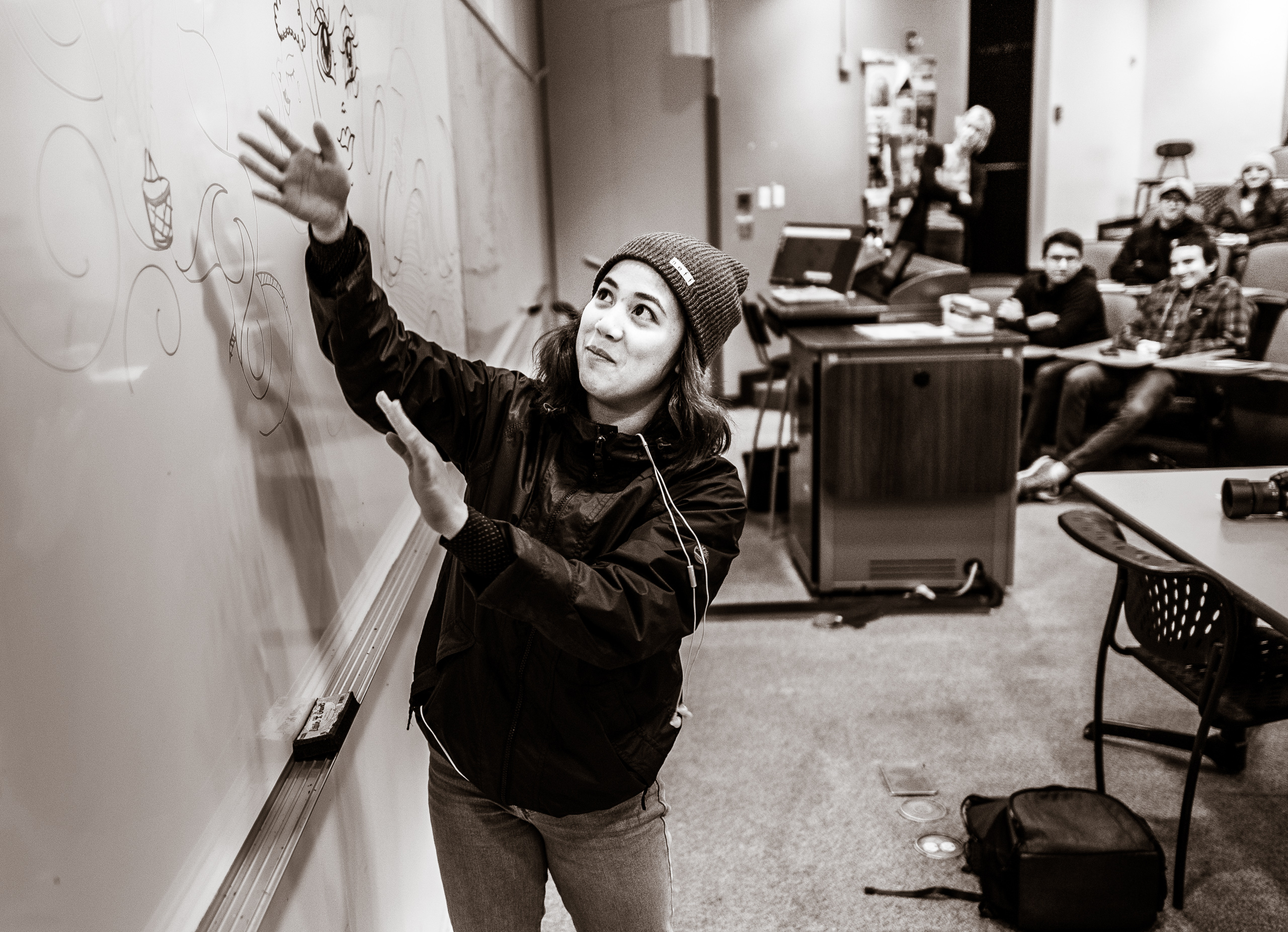Audrey Resella at the white board in room Psy-150 at Long Beach State University.