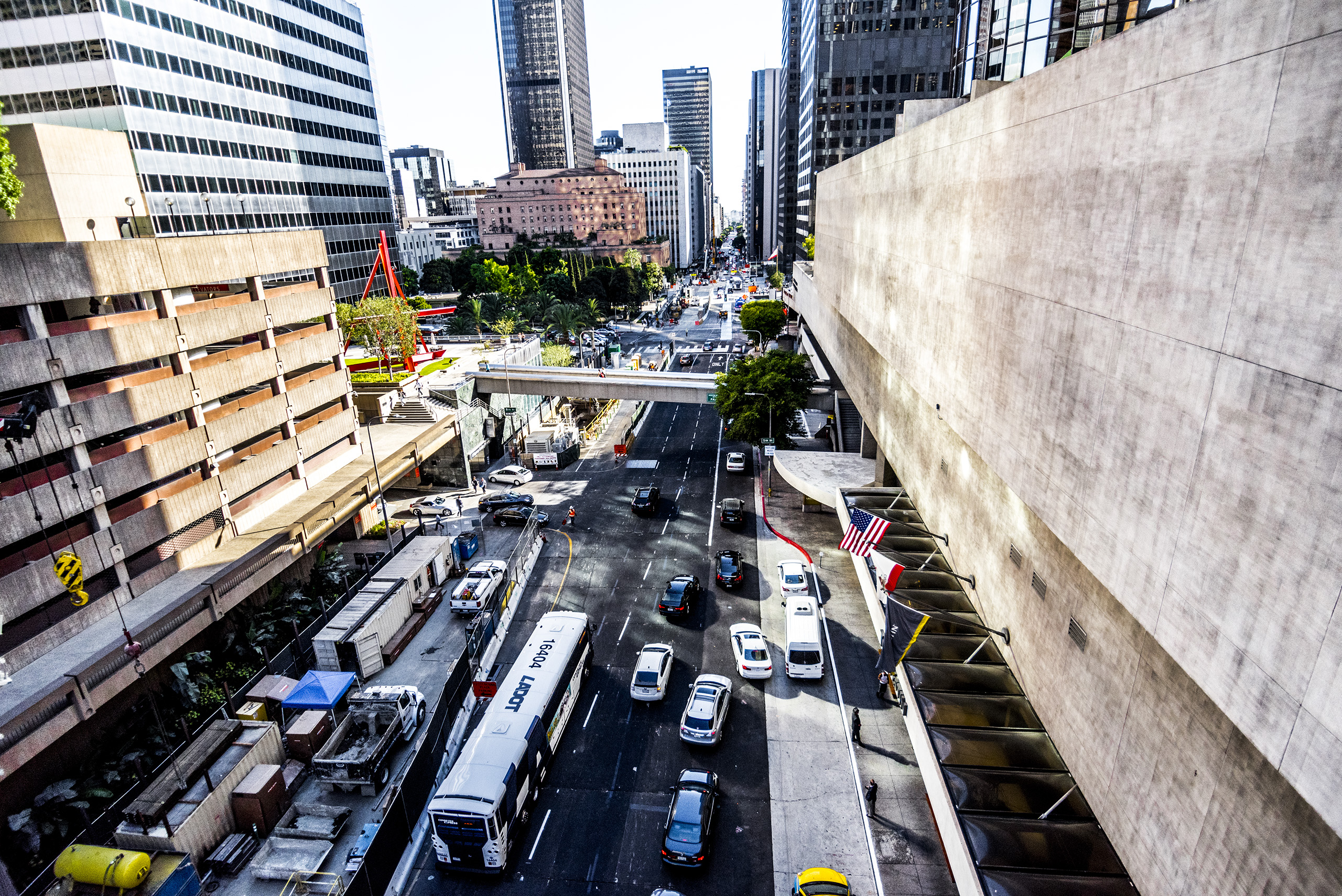 Walking across the skybridge to the Bonaventure Hotel in Downtown Los Angeles and looking down at the busy street below