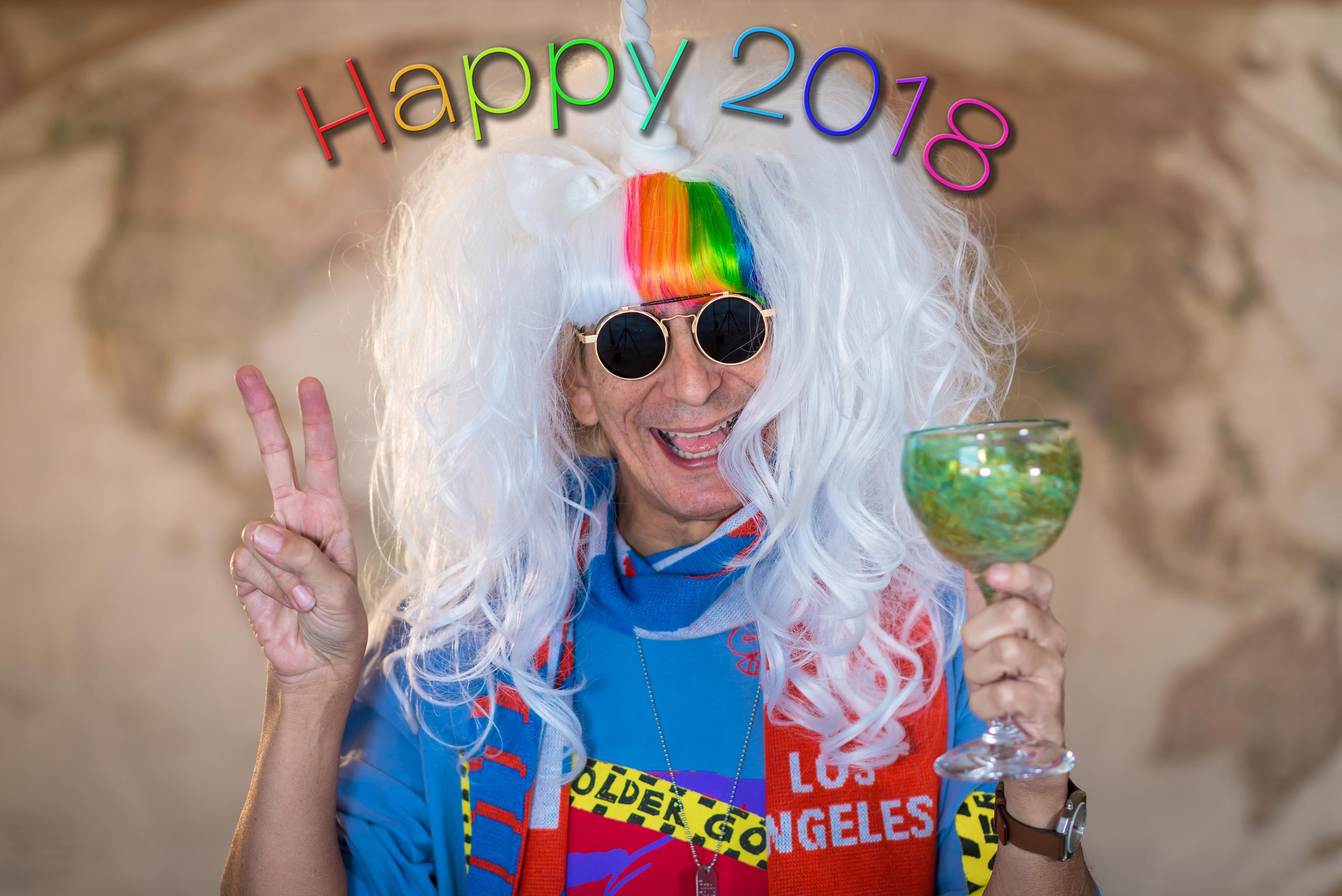 "photo of Glenn Zucman with the text ""Happy 2018"""