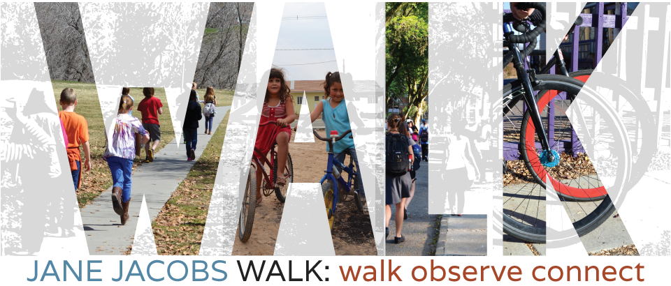 "Jane's Walk logo graphic featuring a large word ""WALK"" with images of people exploring their city inside each letter"