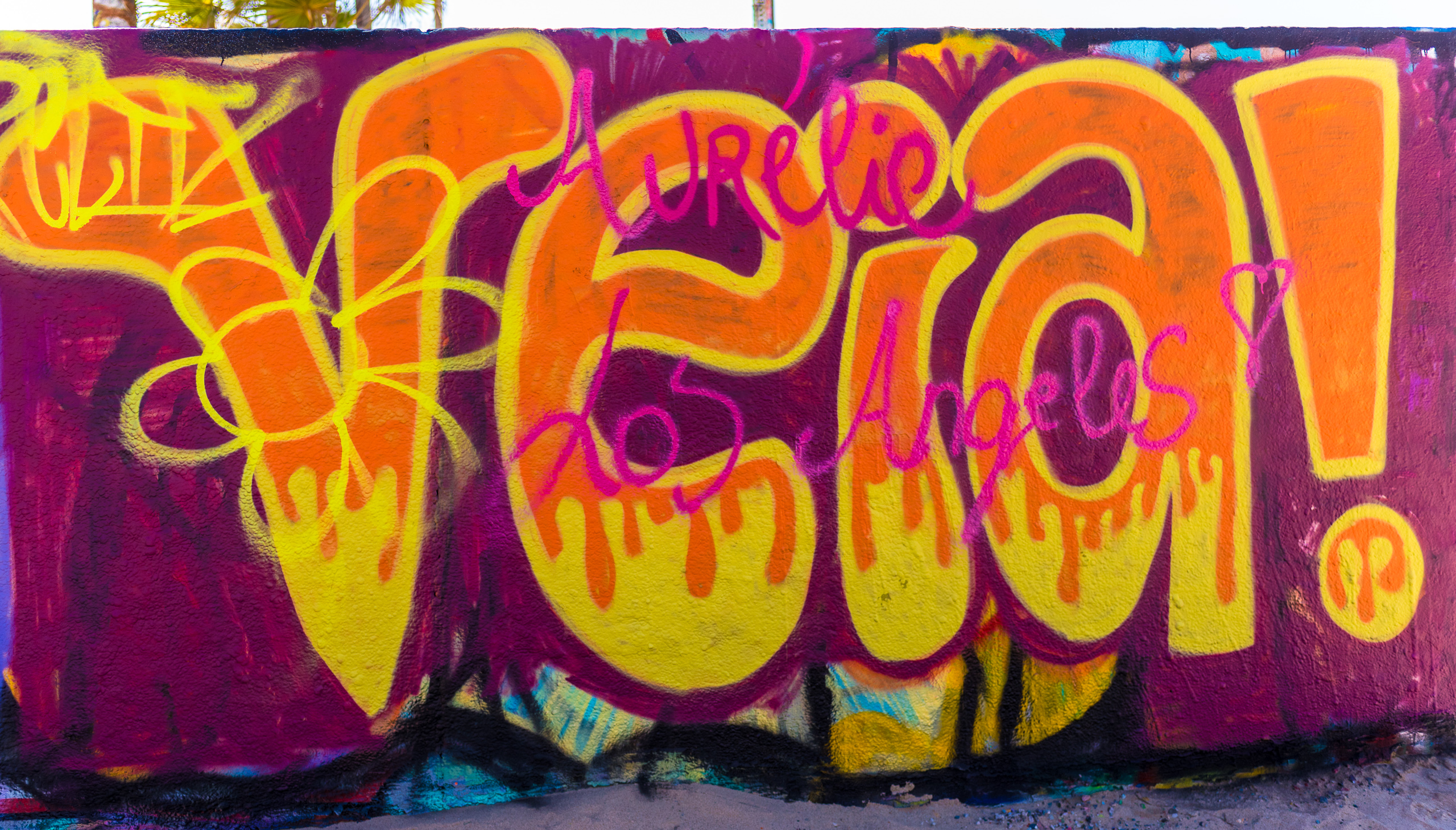 "Kay Luz' painting ""Veia"" at the Venice Art Walls. 3 hours after it was painted and written over with ""Aurelie Los Angeles"""