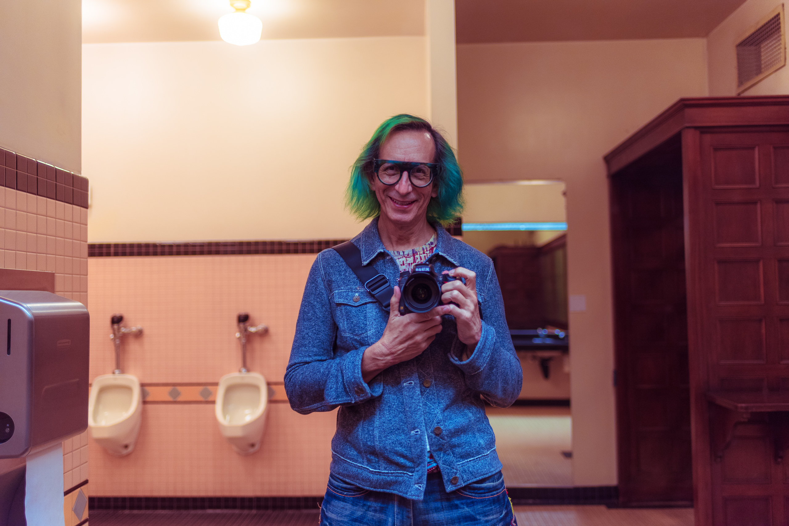 "Photo of me, taking a selfie in the men's room in the ""historic ticketing hall"" at Union Station in Downtown Los Angeles (DTLA)"