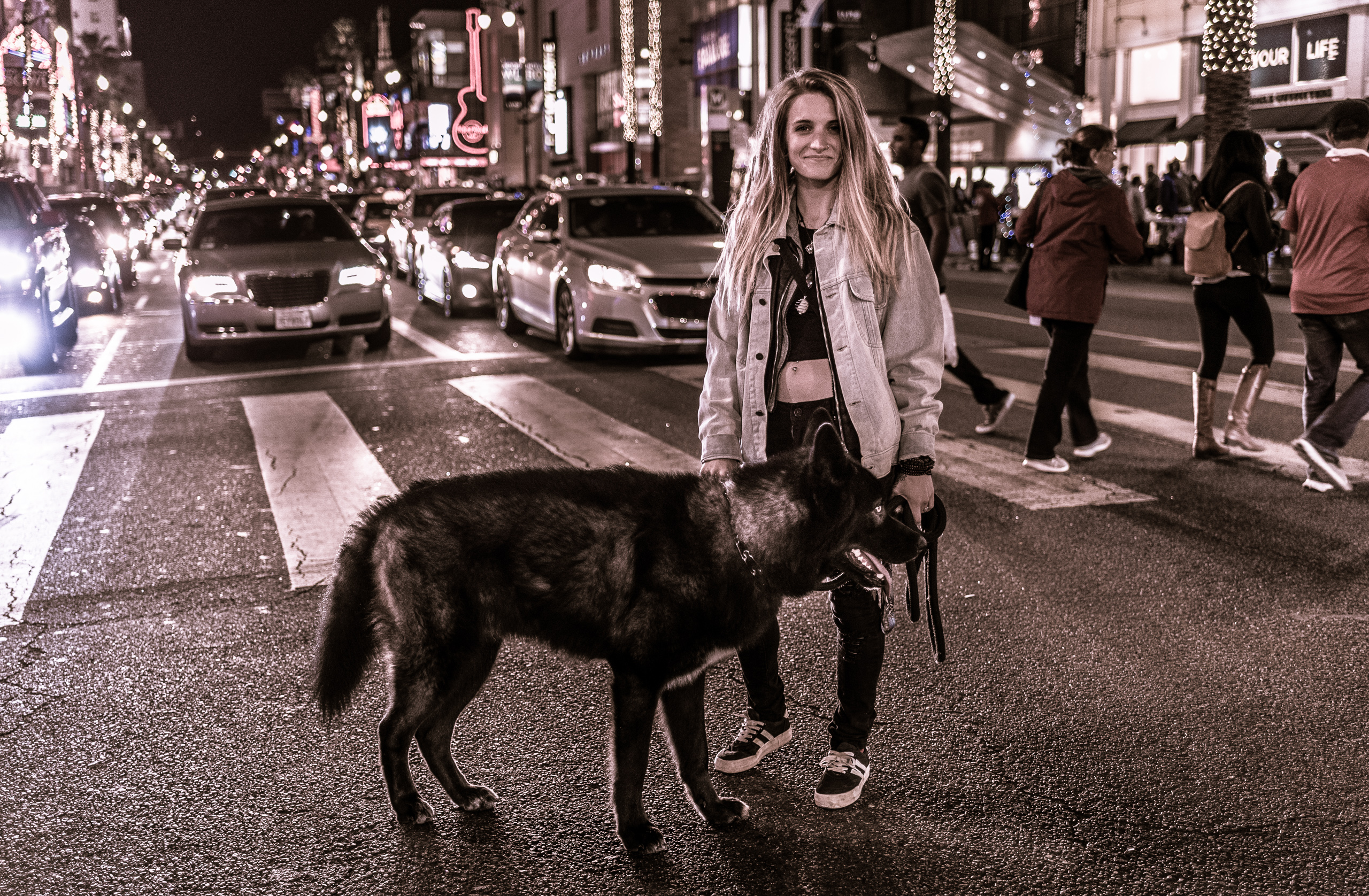 a woman and her dog pose in the middle of the 4-way crossing at the intersection of Hollywood & Highland in Los Angeles, California