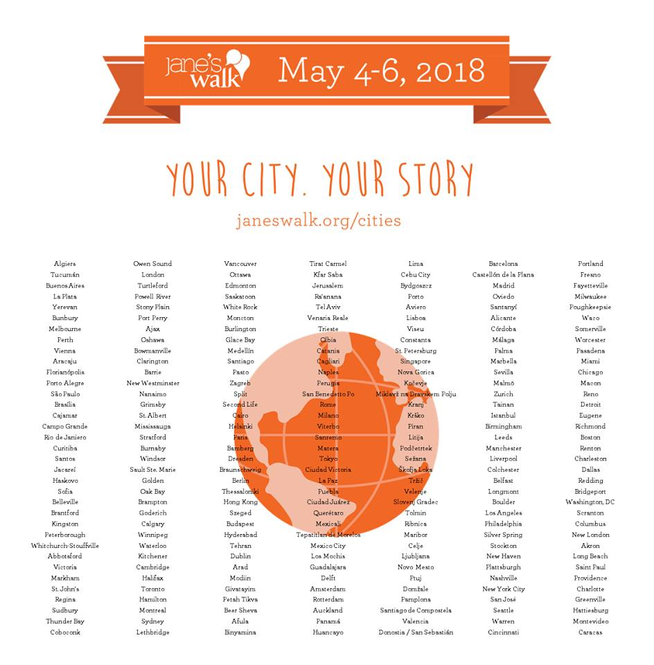 a graphic of the earth and a big list featuring the  245 cities in 43 countries that are participating in Jane's Walk 2018