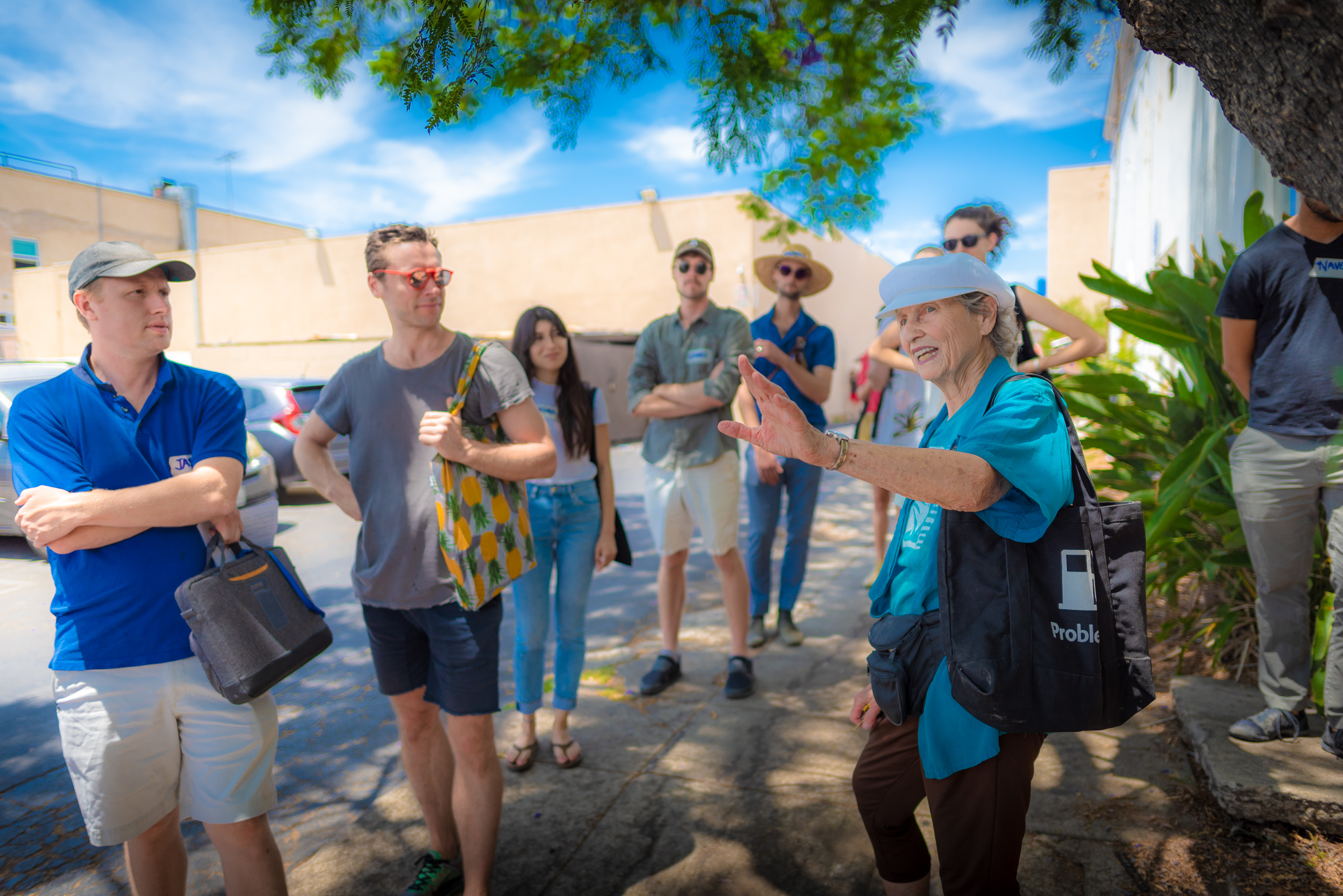 Learners from the Free School of Architecture (FSA 2018 Los Angeles) visit the Los Angeles Eco-Village and have a conversation with Executive Director Lois Arkin.