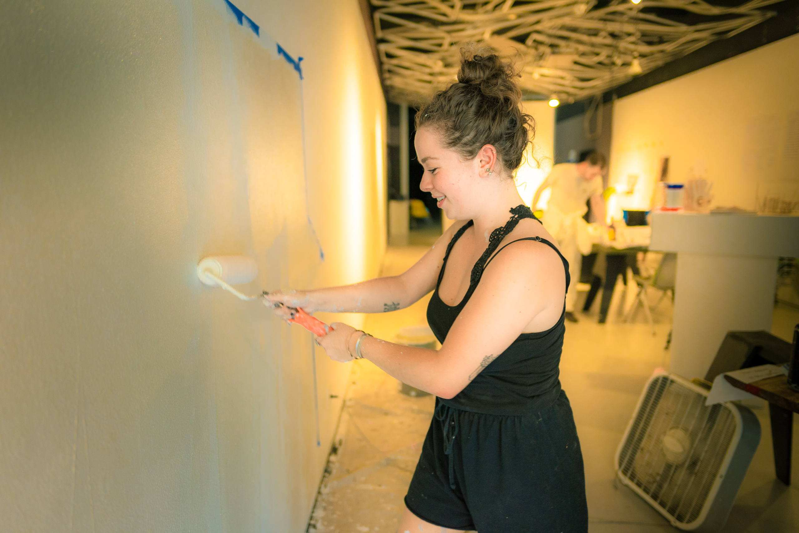 Katya Zirulnik and Jacob Gulezian (Free School of Architecture 2018) paint the walls at WUHO (Woodbury University Hollywood) in preparation for the upcoming FSA final exhibition.