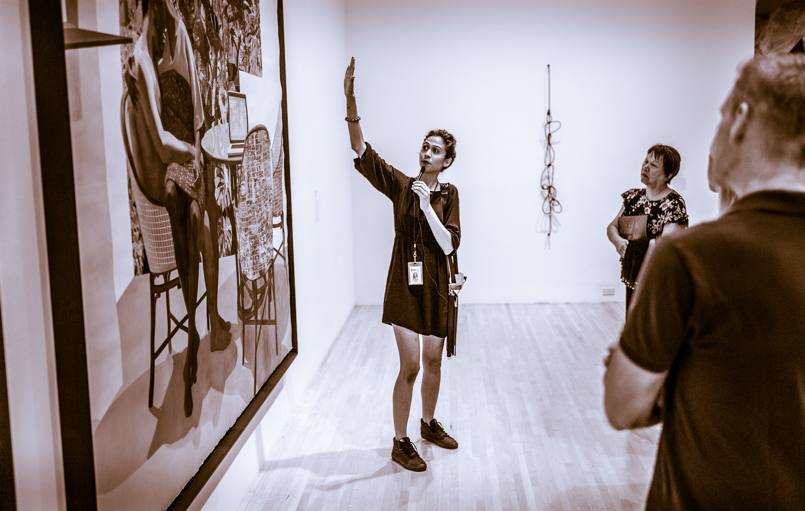 a staff member leads a tour through the MOCA Galleries on Grand Avenue in Downtown Los Angeles