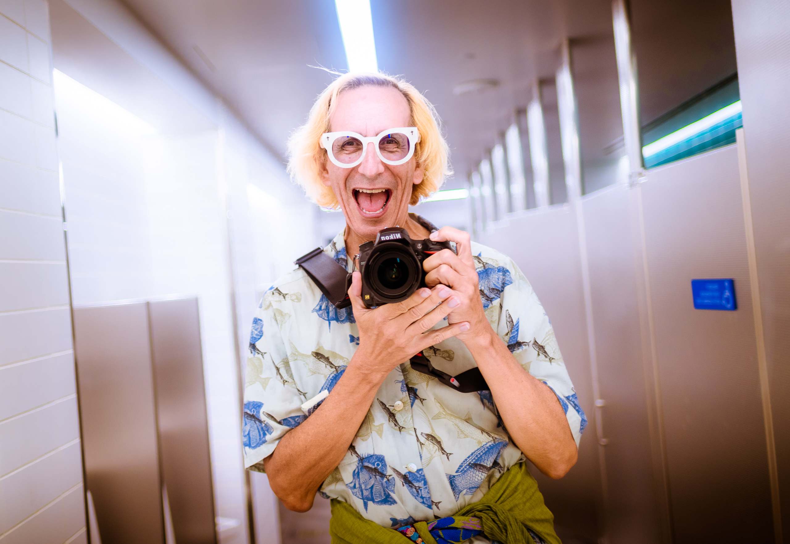 a selfie in the men's room mirror at Los Angeles International Airport (LAX) Terminal 1 - Southwest Airlines