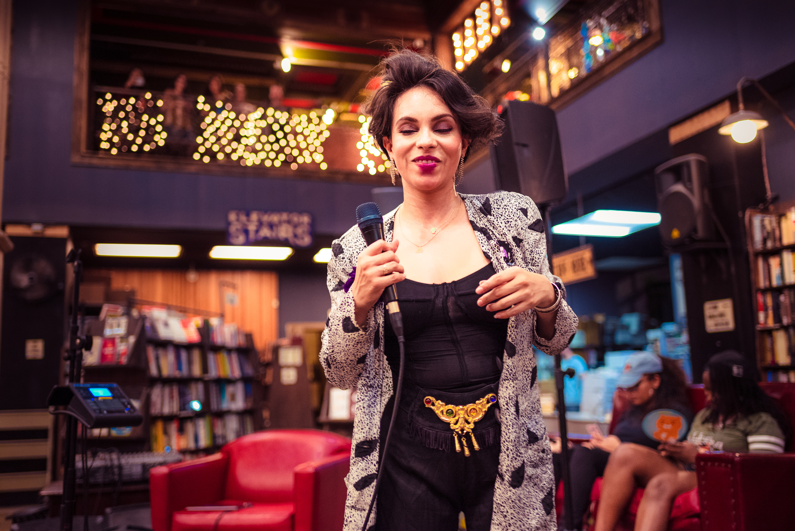 Joanna Rose singing at The Last Bookstore in Downtown Los Angeles