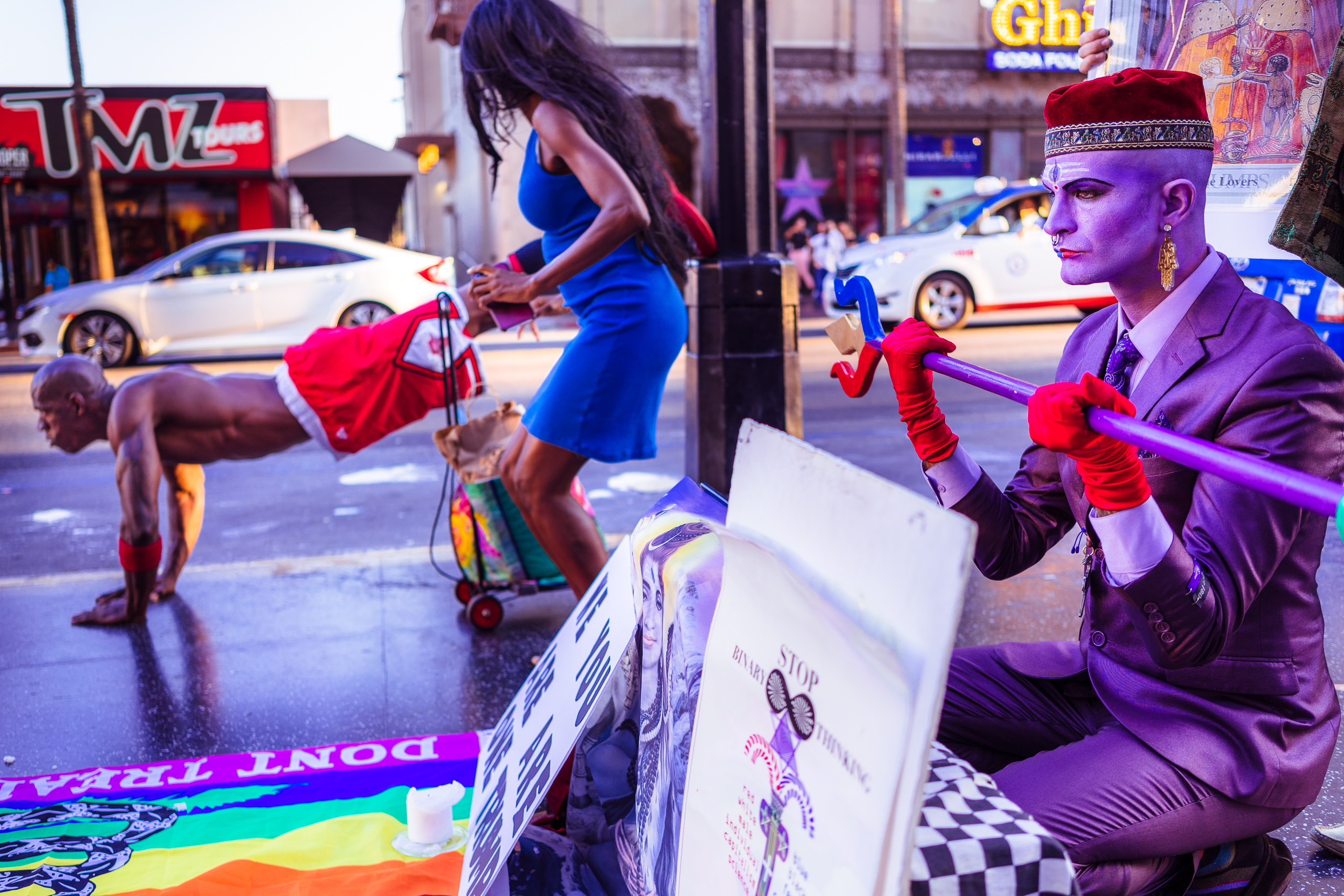 "Activities at Donald Trump's Star on Hollywood Boulevard on Saturday 8 September 2018, featuring a Purple Party performance, ""Shiva NonDuality Mantras @ Hollywood Trump Star"""