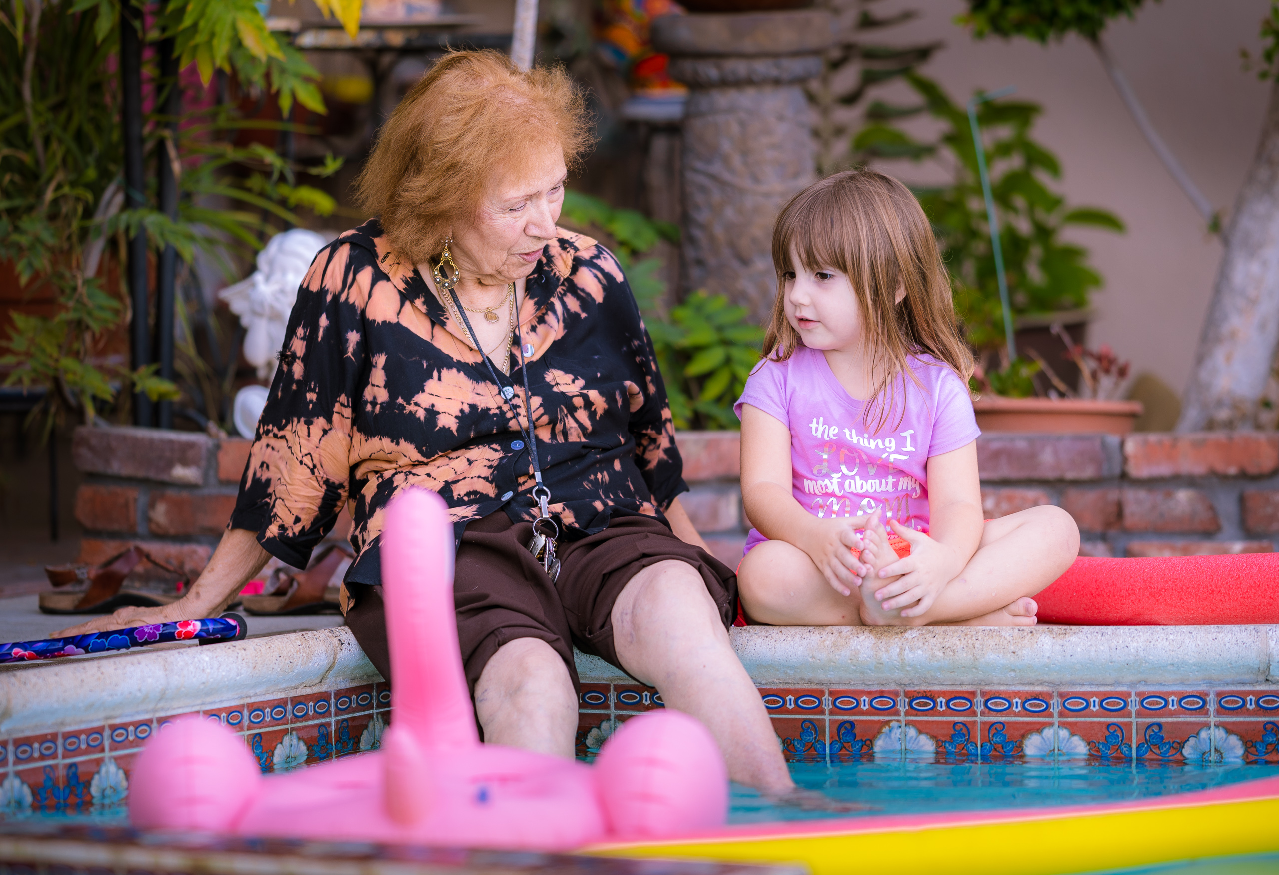 Sheila Zucman and Ashley Rose Taylor at the swimming pool in Monterey Park