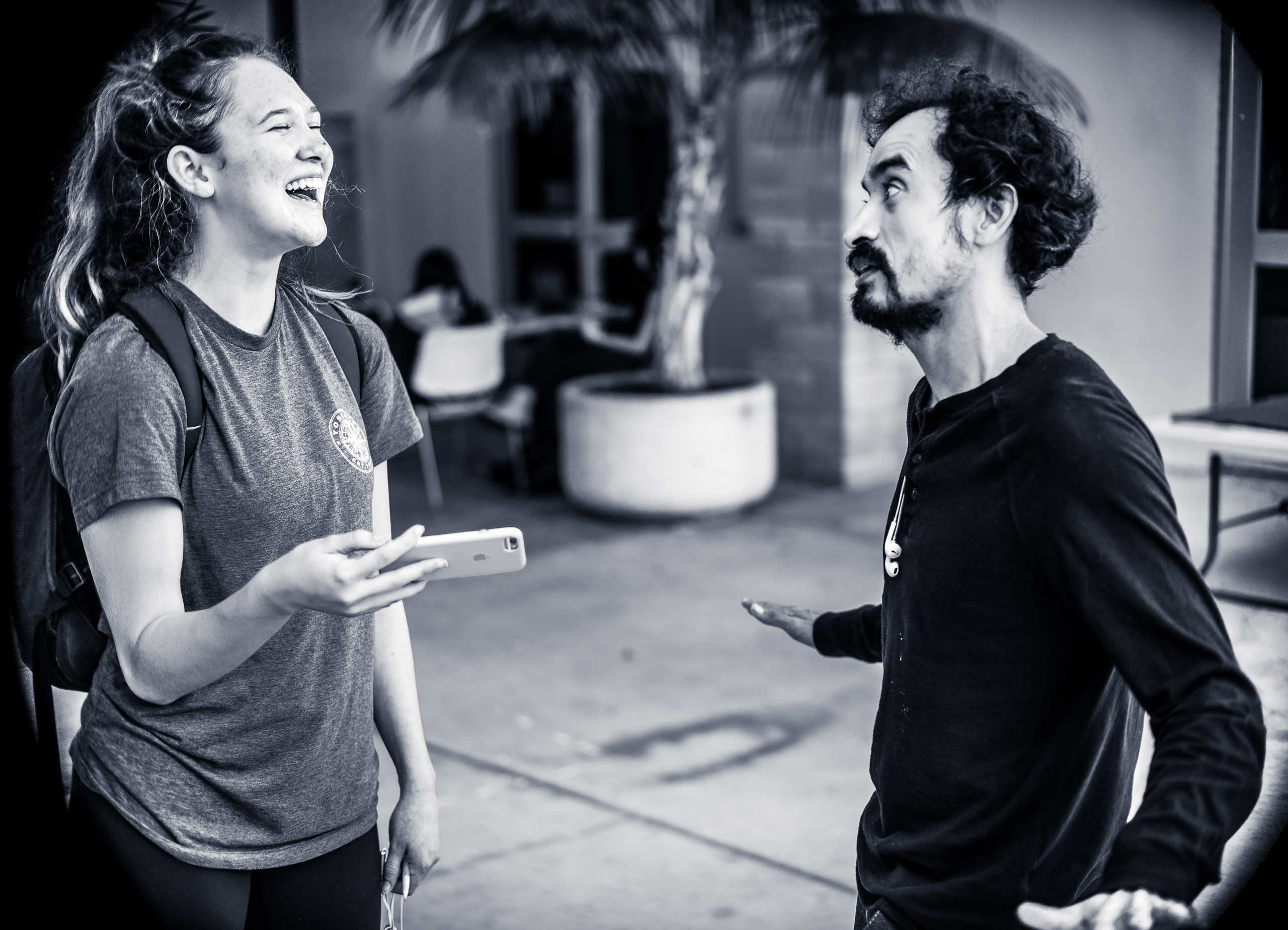 Kaelie Osorio & Alvaro ASF in conversation in the Art Gallery Courtyard at the School of Art at Long Beach State University in Southern California