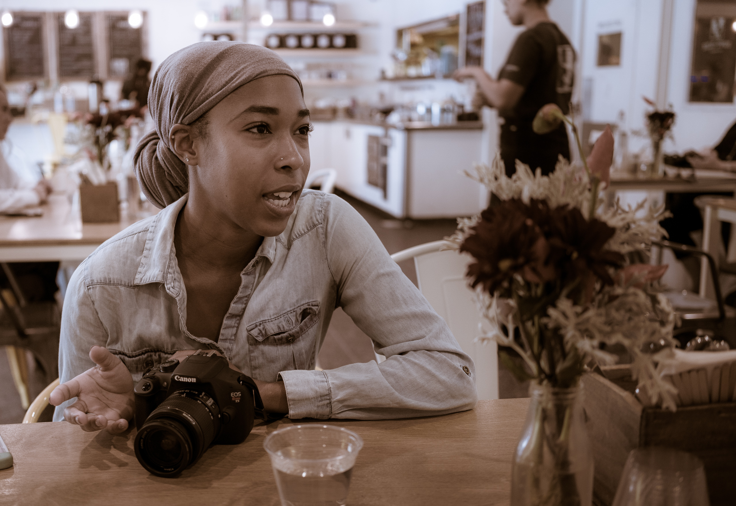 Chelsey Reese having breakfast at Poppy + Rose in the Downtown Los Angeles Flower District