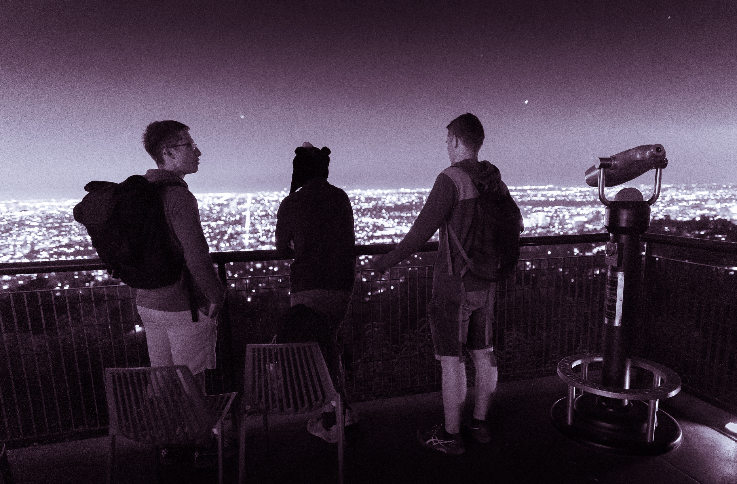 The Light Chasers Meetup group visiting Griffith Observatory and taking a 20 minute hike up the hill to photograph the Observatory against the lights of Los Angeles