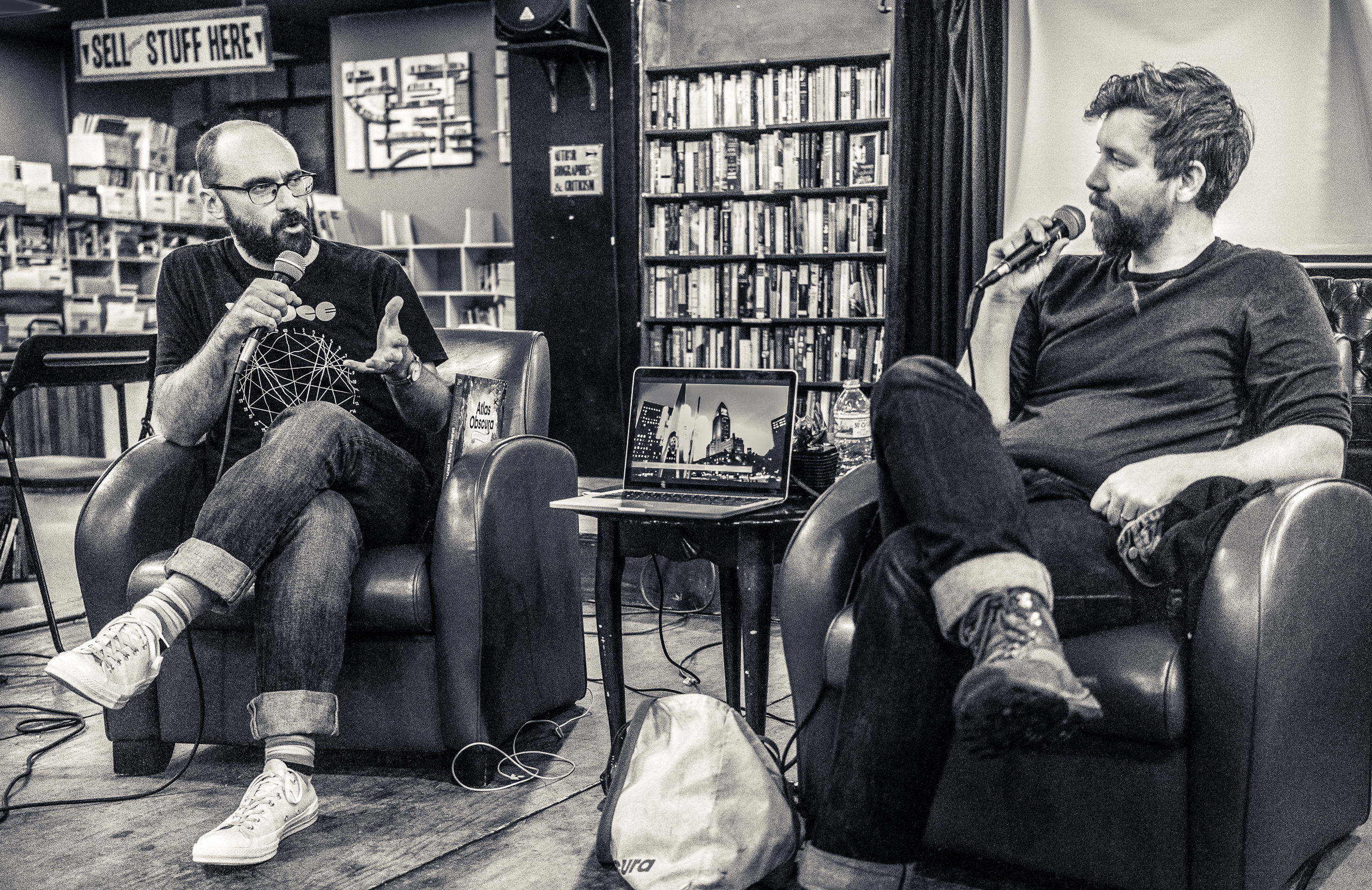 Michael Stevens & Dylan Thuras in conversation at The Last Bookstore, in Downtown Los Angeles