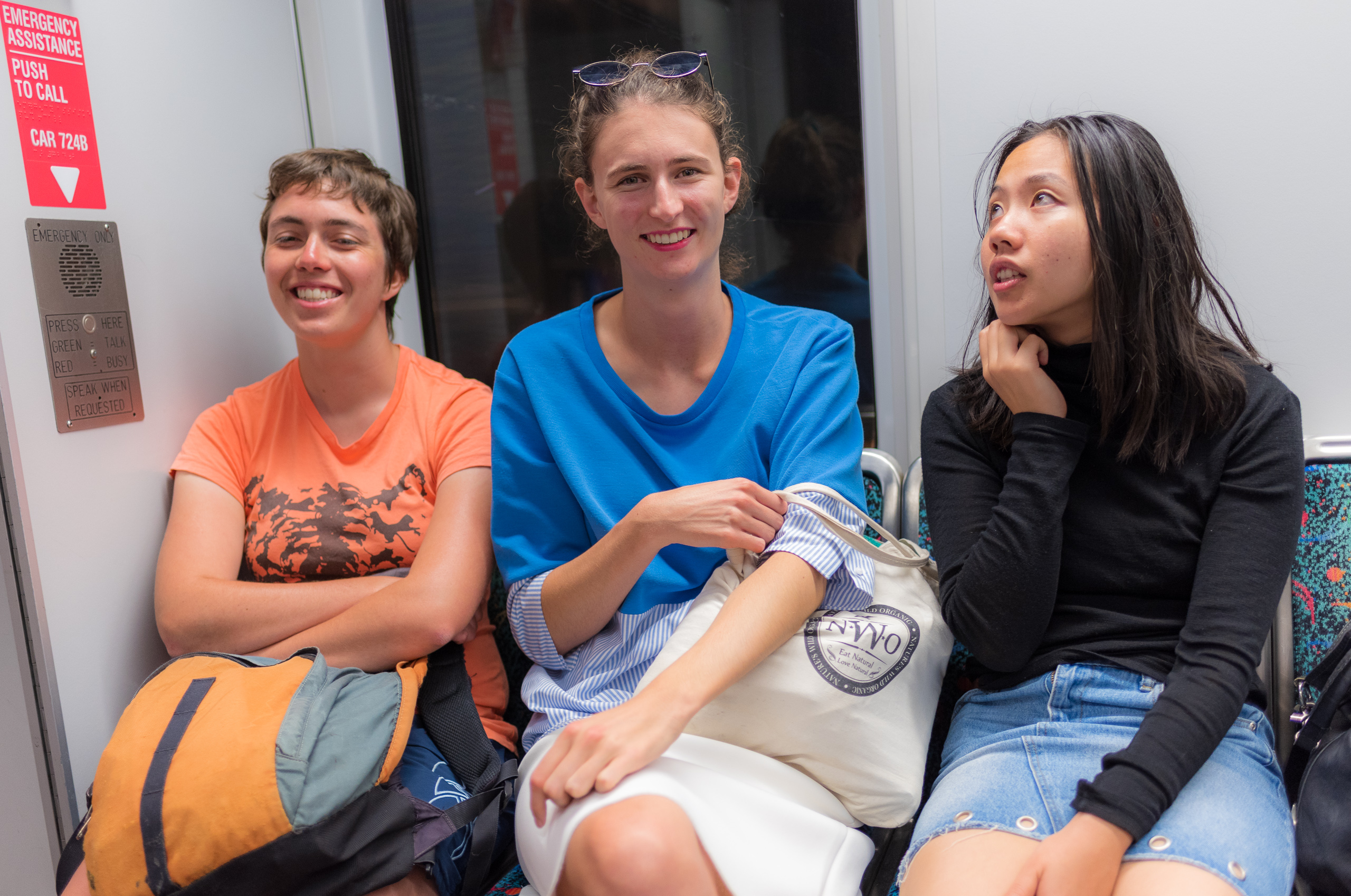 Tessa Forde and friends from New Zealand going home on the LA Metro Gold Line