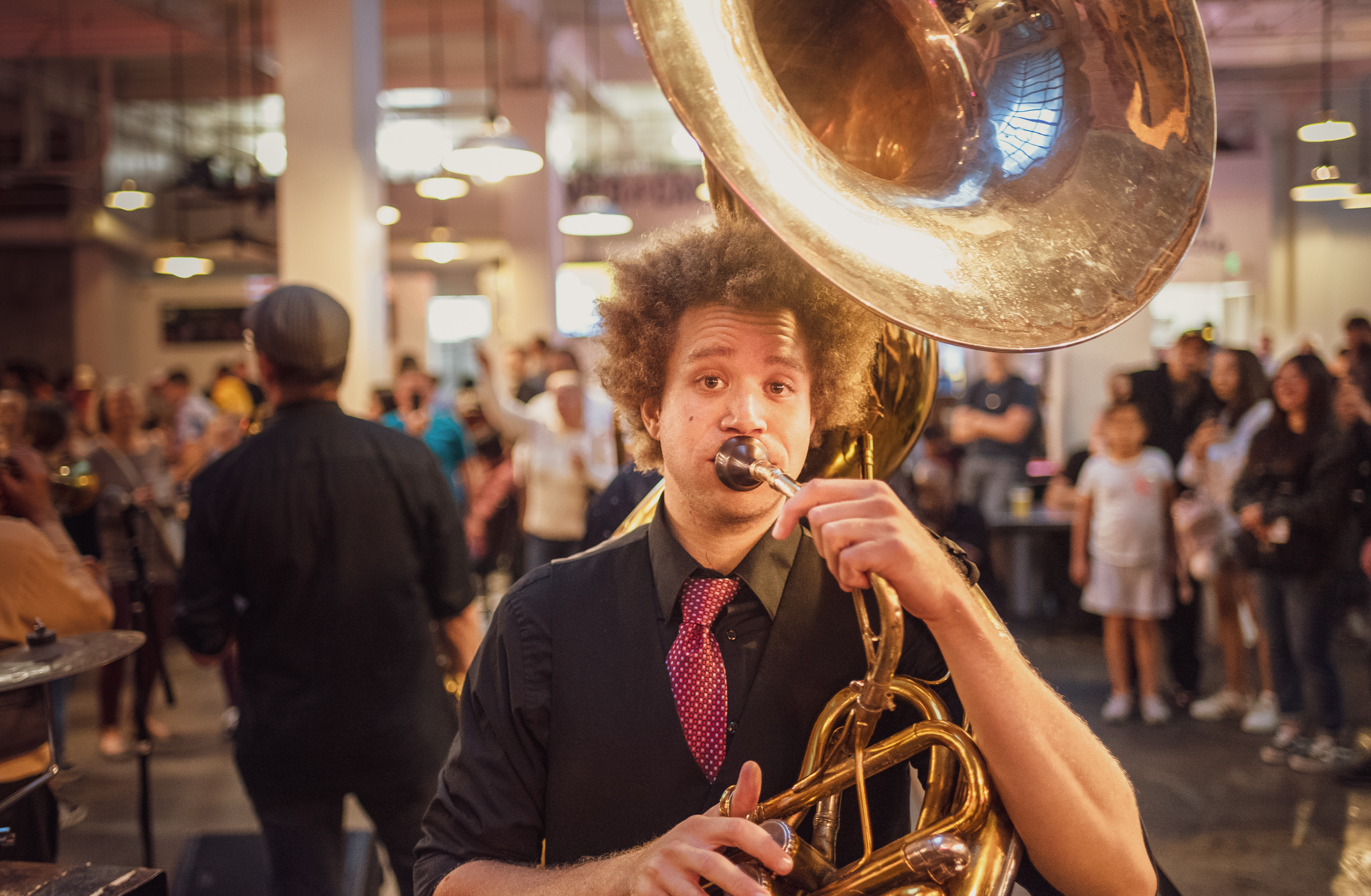 The Mudbug Brass Band playing at the DTLA Oyster Festival at Grand Central Market in Los Angeles, California