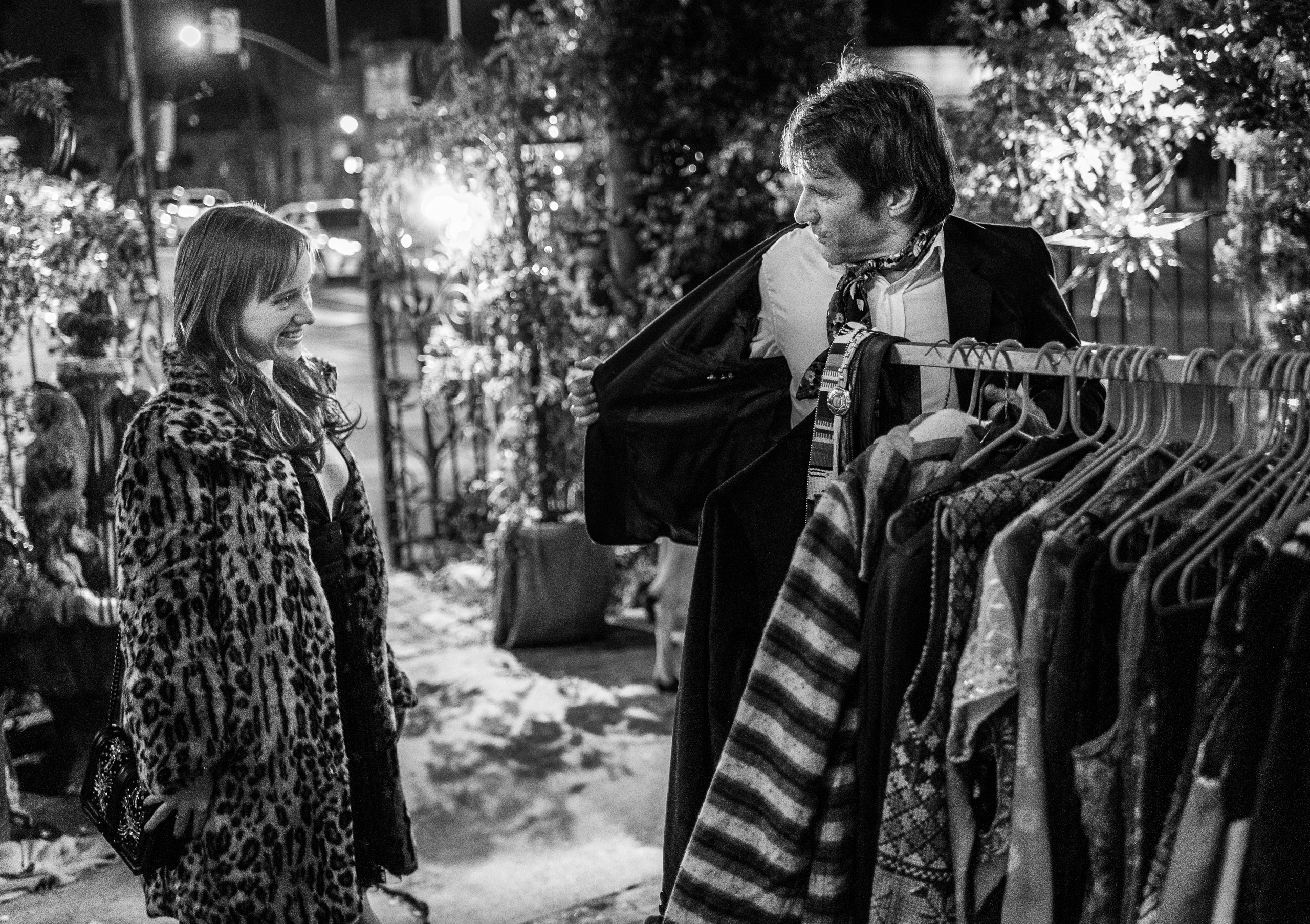 Shopping for new clothes at the LA Tarot Society's Holiday Solstice Party in Hollywood