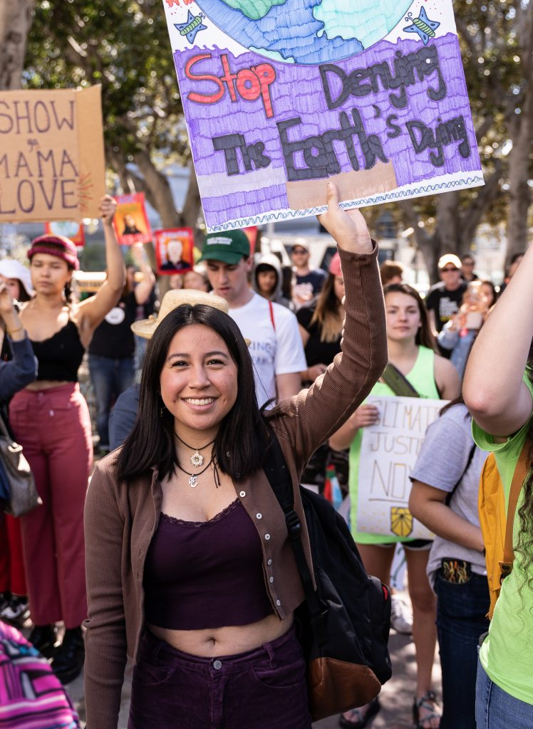"Stephanie Gonzalez, 16, from Arcadia High School marching in the Youth Climate Strike at Los Angeles City Hall on Friday, March 15, 2019. Gonzalez said that she was marching because, ""I'm here to show that youth has a voice when it comes to determining our future."" ""Fridays for the Future"" is organized by 16-year-old Swede Greta Thunberg. The Los Angeles Youth Climate March is organized by 17-year-old Los Angeleño Arielle Martinez-Cohen. (Glenn Zucman/The Corsair)"