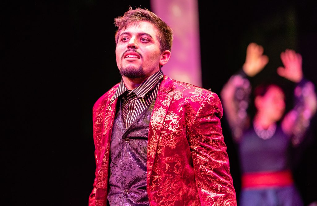 Ángel Ádan Salas (Macbeth) Rehearsing The Title Role In Flamenco Macbeth On The SMC Studio Stage On Tuesday, April 23, 2019. Flamenco Macbeth Is An Adaptation From Shakespeare By SMC Theatre Arts Department Chair Perviz Sawoski. Performances Are In The SMC Studio Stage On April 26, 27, 28, And May 3, 4, 5. (Glenn Zucman/The Corsair)