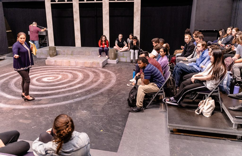 Director And SMC Theatre Arts Department Chair Perviz Sawoski Gives Notes To The Cast And Crew Of Flamenco Macbeth After The Tech Rehearsal On The SMC Studio Stage On Tuesday, April 23, 2019. Flamenco Macbeth Is An Adaptation From Shakespeare By Sawoski. Performances Are In The SMC Studio Stage On April 26, 27, 28, And May 3, 4, 5. (Glenn Zucman/The Corsair)