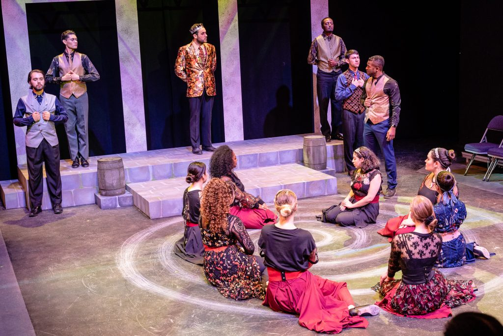 Mehmet Bakir (King Duncan) (In Gold Jacket In Upper-Center) Presides Over The Court During A Rehearsal For Flamenco Macbeth On The SMC Studio Stage On Thursday, April 25, 2019. Flamenco Macbeth Is An Adaptation From Shakespeare By SMC Theatre Arts Department Chair Perviz Sawoski. Performances Are In The SMC Studio Stage On April 26, 27, 28, And May 3, 4, 5. (Glenn Zucman/The Corsair)