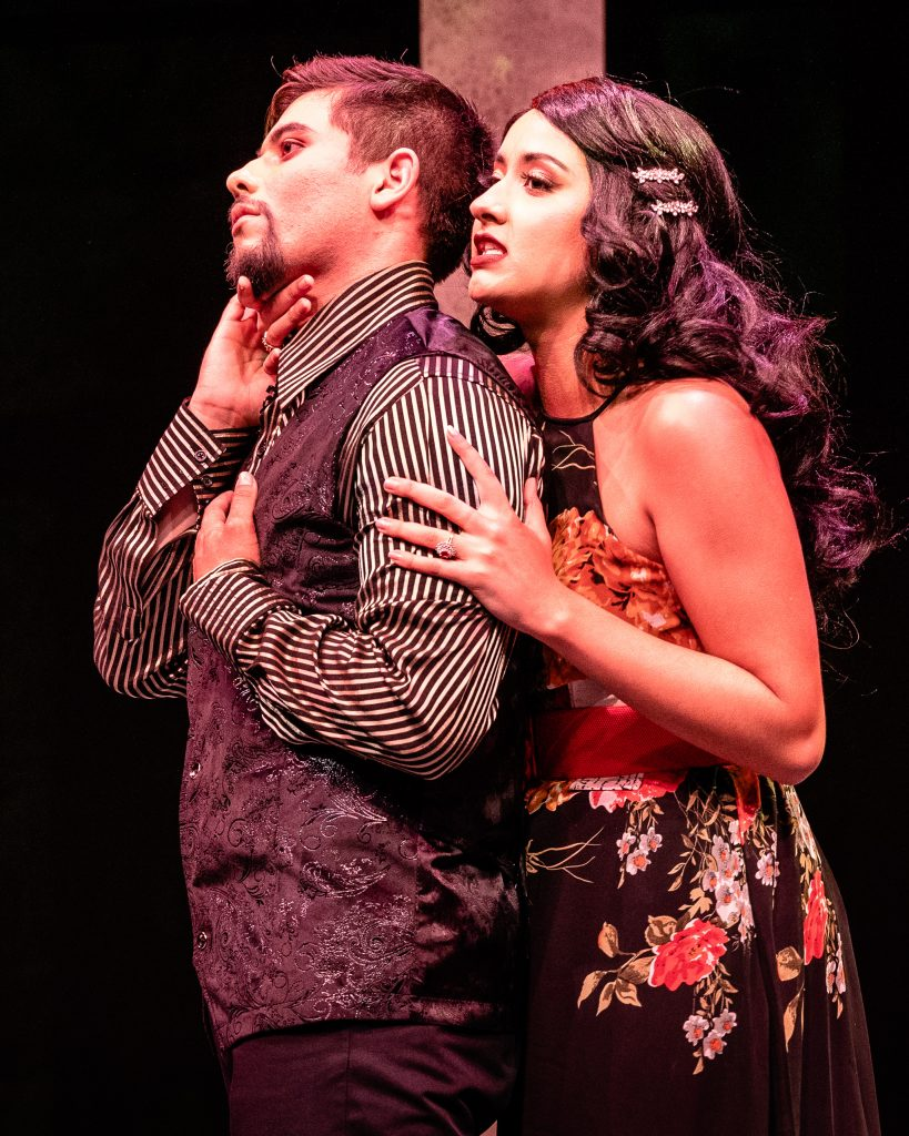 Julia Michelle (Lady Macbeth) (Right) Encourages Her Husband Ángel Ádan Salas (Macbeth) In The Rehearsal For Flamenco Macbeth On The SMC Studio Stage On Thursday, April 25, 2019. Flamenco Macbeth Is An Adaptation From Shakespeare By SMC Theatre Arts Department Chair Perviz Sawoski. Performances Are In The SMC Studio Stage On April 26, 27, 28, And May 3, 4, 5. (Glenn Zucman/The Corsair)