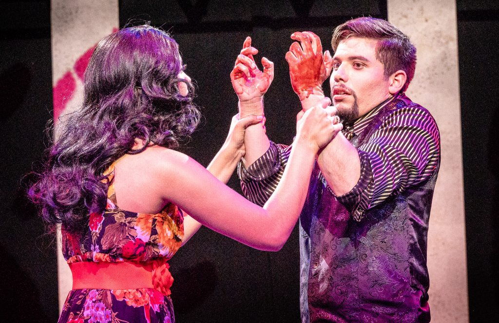 Julia Michelle (Lady Macbeth) Finds Her Husband Ángel Ádan Salas (Macbeth) With Bloody Hands After He Has Killed King Duncan In The Rehearsal For Flamenco Macbeth On The SMC Studio Stage On Thursday, April 25, 2019. Flamenco Macbeth Is An Adaptation From Shakespeare By SMC Theatre Arts Department Chair Perviz Sawoski. Performances Are In The SMC Studio Stage On April 26, 27, 28, And May 3, 4, 5. (Glenn Zucman/The Corsair)