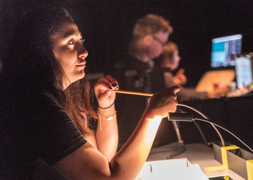 With Pencil And Script Ready, Stage Manager Regina Shabanova Follows The Tech Rehearsal For Flamenco Macbeth On The SMC Studio Stage On Tuesday, April 23, 2019. Flamenco Macbeth Is An Adaptation From Shakespeare By SMC Theatre Arts Department Chair Perviz Sawoski. Performances Are In The SMC Studio Stage On April 26, 27, 28, And May 3, 4, 5. (Glenn Zucman/The Corsair)