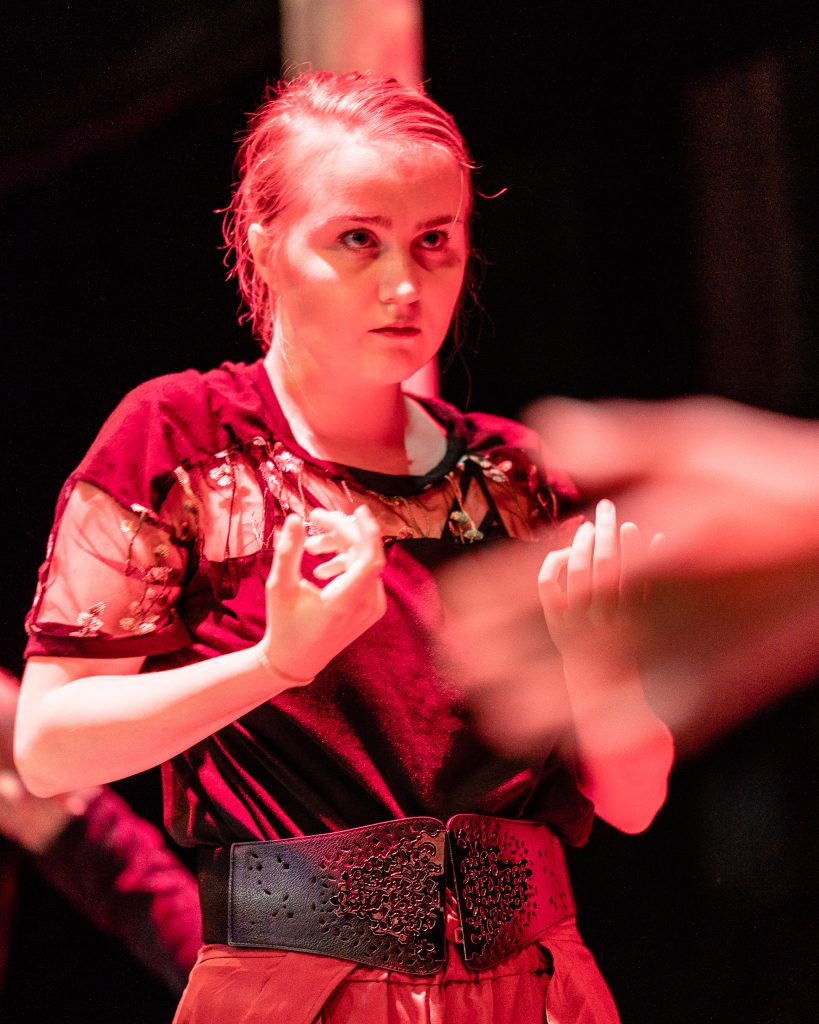 Josefin Östevik (Dancer) Rehearsing Her Role In Flamenco Macbeth At The Tech Rehearsal On The SMC Studio Stage On Tuesday, April 23, 2019. Flamenco Macbeth Is An Adaptation From Shakespeare By SMC Theatre Arts Department Chair Perviz Sawoski. Performances Are In The SMC Studio Stage On April 26, 27, 28, And May 3, 4, 5. (Glenn Zucman/The Corsair)