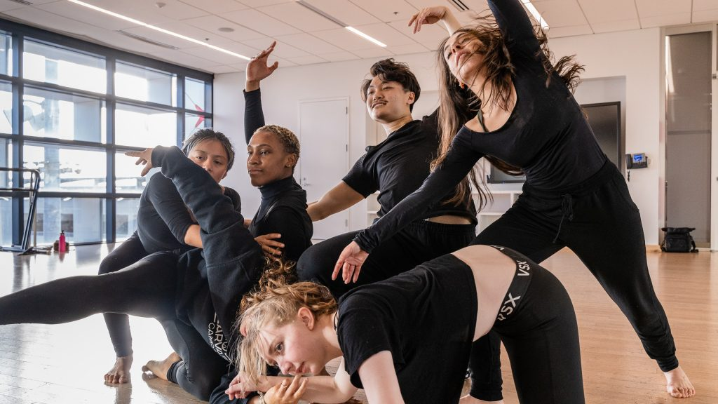 Letxia Cordova, Kennadi Davis, Brittany Ganiere, Taylor Sun, And Giulia Perri Rehearse Student Choreographer Julisa Figueroa's Piece For Synapse Dance Theater In SMC's Core Performance Center On Thursday, April 25, 2019. Synapse Dance Theater Will Be Performed On The Broad Stage At SMC's Performing Arts Center On Friday And Saturday, May 24 And 25. (Glenn Zucman/The Corsair)