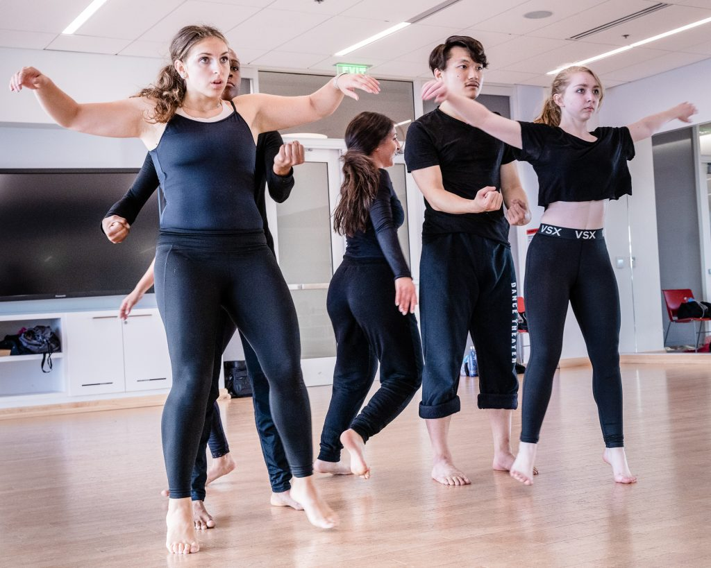 Noemi Nuernberger, Kennadi Davis, Giulia Perri, Taylor Sun, And Brittany Ganiere Rehearse Student Choreographer Julisa Figueroa's Piece For Synapse Dance Theater In SMC's Core Performance Center On Thursday, April 25, 2019. Synapse Dance Theater Will Be Performed On The Broad Stage At SMC's Performing Arts Center On Friday And Saturday, May 24 And 25. (Glenn Zucman/The Corsair)