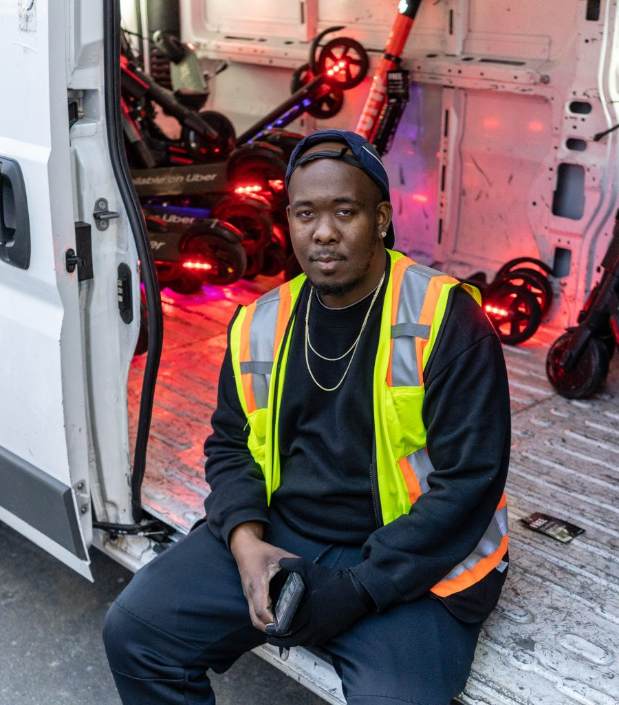 Uber Employee Javaun Bruins, 31, From Inglewood, Calif., In A Van Filled With EScooters He And Kegauna Brown, 23, From Compton, Calif., Have Collected In The Venice Area On Thursday, Feb. 28, 2019. From Here They Take The EScooters Back To Uber's Shop For Charging, Re-Balancing, And Repair. (Glenn Zucman/The Corsair)