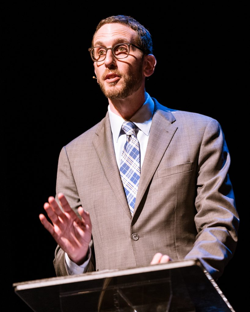 "California State Senator Scott Weiner (SD11 - San Francisco), Author Of SB-50, Gives The First Presentation For ""Where Goes The Road To Solving California's Housing Crisis?"" On The SMC Broad Stage On Thursday, May 9, 2019. During His Remarks, Senator Weiner Said, ""We Have To Up Our Game In Terms Of That Low-Income Affordable Housing... When People Say That SB-50 Wants To Get Rid Of Single Family Homes - That's Completely Untrue... When We Ban Apartment Buildings, That's A Ban On Affordable Housing."" (Glenn Zucman/The Corsair)"