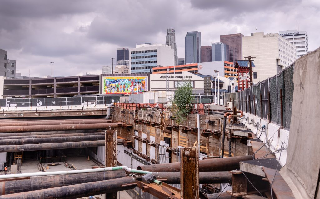 The Metro Regional Connector Construction Site On The Corner Of 1st Street And Central Avenue In Downtown Los Angeles On Wednesday, April 3, 2019. When Completed In 2022 This Will Be Metro Rail's New Subterranean Little Tokyo/Arts District Station. The Regional Connector Will Simplify East-West And North-South Transportation In Los Angeles. For Example, To Travel From East Los Angeles College To Santa Monica College Currently Takes 3 Trains, But Will Only Require One Train In 2022. (Glenn Zucman/The Corsair)