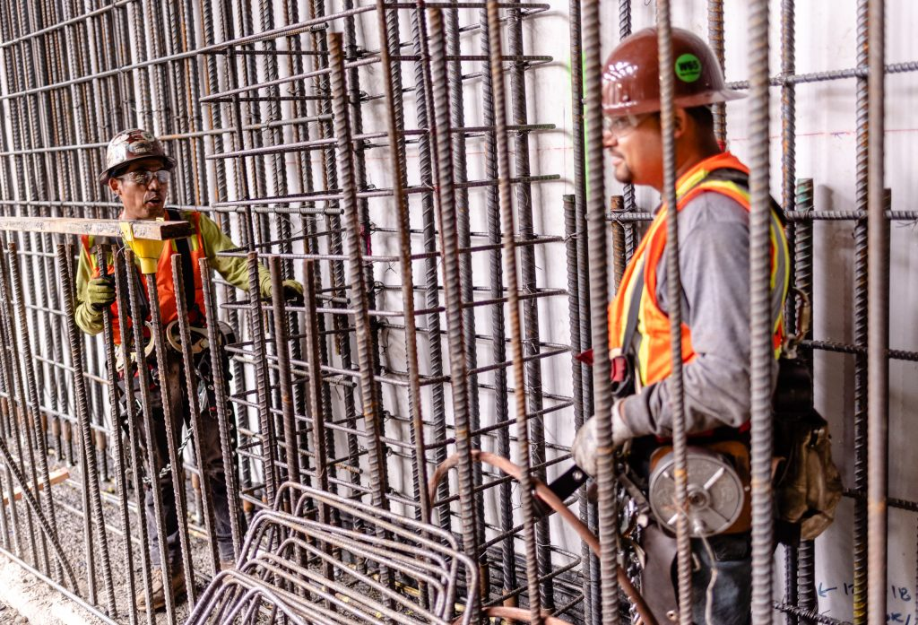Workers Prepare A Wall Of Rebar At The Site Of Metro Rail's Future Underground Little Tokyo/Arts District Station On Wednesday, April 3, 2019. When It Opens In 2022, This Underground Station Will Replace The Nearby Above Ground Station. At This Site The North And South Ends Of The Metro Gold Line Will Be Split To Join The Ends Of The Existing Expo Line And Blue Line. When Completed In 2022 The Regional Connector Will Simplify East-West And North-South Travel In Los Angeles. A Trip From East Los Angeles College To Santa Monica College Which Currently Requires 2 Transfers And 3 Trains, Will Require Only One Train When This New Segment Opens In 2022. (Glenn Zucman/The Corsair)