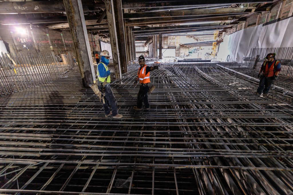 Metro Regional Connector Workers Underneath The Intersection Of 1st Street And Alameda Street In Downtown Los Angeles Construct The Path That Will Lead The Future Merged Metro Expo And Gold Lines From The Underground Little Tokyo/Arts District Station Up To The Surface Level As The Line Continues East Toward East Los Angeles On Wednesday, April 3, 2019. When Completed In 2022 The Regional Connector Will Add New Stations At Little Tokyo/Arts District, Historic Broadway, And Grand Avenue Arts/Bunker Hill. The Regional Connector Will Simplify East-West And North-South Travel In Los Angeles. A Trip From East Los Angeles College To Santa Monica College Which Currently Requires 2 Transfers And 3 Trains, Will Require Only One Train When This New Segment Opens In 2022. (Glenn Zucman/The Corsair)