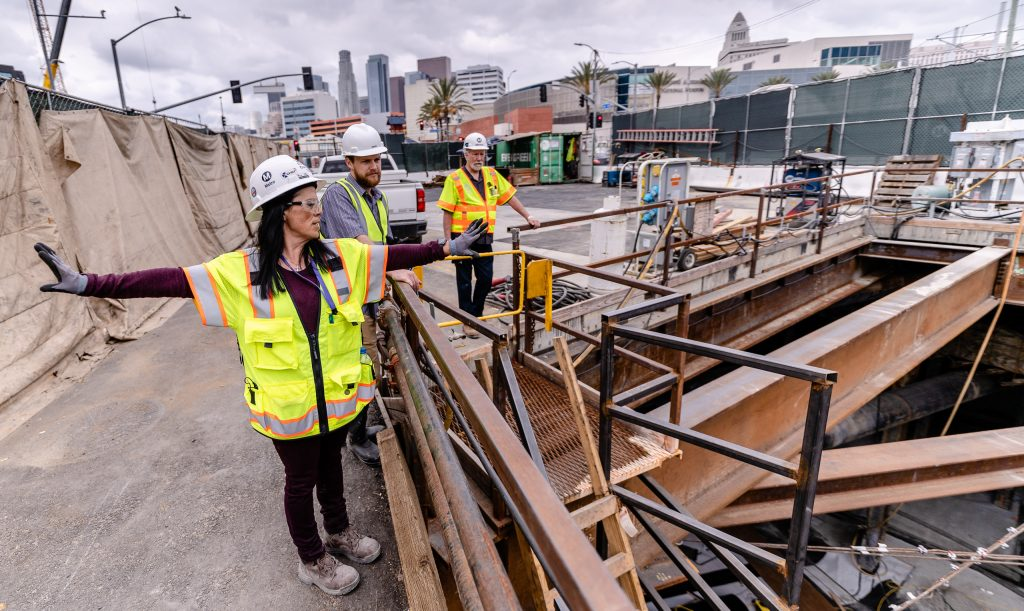 Metro Regional Connector Senior Safety Manager Michelle Jones Describes The Construction Site On The Northeast Corner Of 1st Street And Alameda Street In Downtown Los Angeles On Wednesday, April 3, 2019. The Area Jones Is Describing Is Where The Future Metro Rail Line Will Emerge From The Underground Station At Little Tokyo/Arts District And Run At Grade. When Completed In 2022 The Regional Connector Will Add New Stations At Little Tokyo/Arts District, Historic Broadway, And Grand Avenue Arts/Bunker Hill. The Regional Connector Will Simplify East-West And North-South Travel In Los Angeles. A Trip From East Los Angeles College To Santa Monica College Which Currently Requires 2 Transfers And 3 Trains, Will Require Only One Train When This New Segment Opens In 2022. (Glenn Zucman/The Corsair)