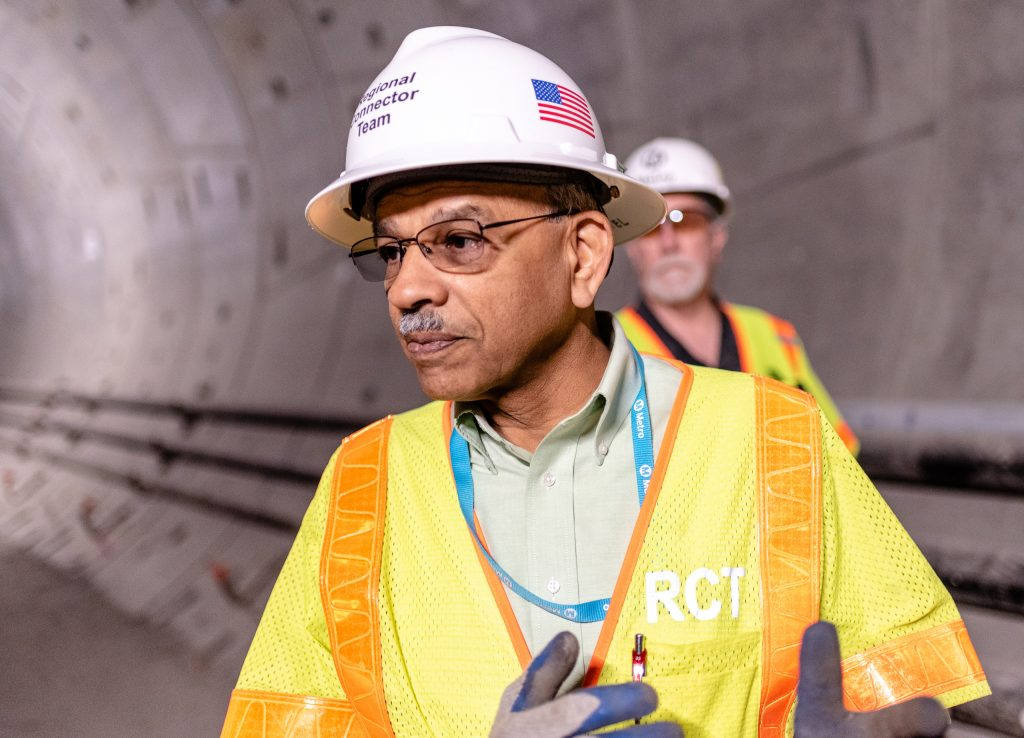Metro Regional Connector Project Director Of Construction Management Rajni Patel Walks Through A Downtown Los Angeles Tunnel That Connects The Future Little Tokyo/Arts District Station To The Future Historic Broadway Station On Wednesday, April 3, 2019. The Half-Mile-Long Tunnel Runs Underneath 2nd Street. When Completed In 2022, The Regional Connector Will Simplify East-West And North-South Transportation In Los Angeles. For Example, To Travel From East Los Angeles College To Santa Monica College Currently Takes 3 Trains, But Will Only Require One Train In 2022. (Glenn Zucman/The Corsair)