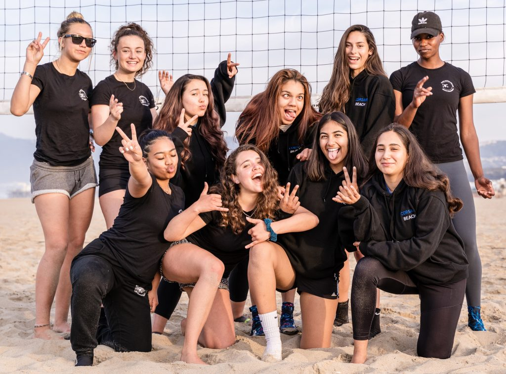 2018 – 2019 SMC Beach Volleyball Team Practice At Santa Monica Beach On Tuesday, March 26, 2019. Back Row: Brooke Michaels, Camilla Wilson, Madison Reiner, Angelina Burton, Elena Eckardt And Brianna Montgomery. Front Row: Caitlin Quijano, Erika Placer, Maria Larranaga And Diana Enriquez. The Beach Volleyball Season Began In February And Runs Through April 2019. (Glenn Zucman/The Corsair)
