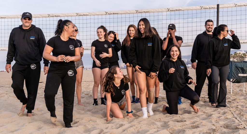 The SMC Beach Volleyball Team Enjoys A Light Moment Before Practice At Santa Monica Beach On Tuesday, March 26, 2019. The Beach Volleyball Season Began In February And Runs Through April 2019. (Glenn Zucman/The Corsair)