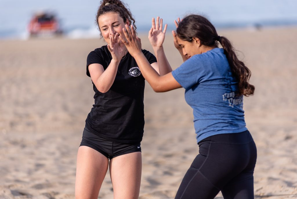 Camilla Wilson And Diana Enriquez Congratulate Each Other After Winning A Point At SMC Beach Volleyball Practice At Santa Monica Beach On Tuesday, March 26, 2019. The SMC Corsairs Beach Volleyball Season Began In February And Runs Through April 2019. (Glenn Zucman/The Corsair)