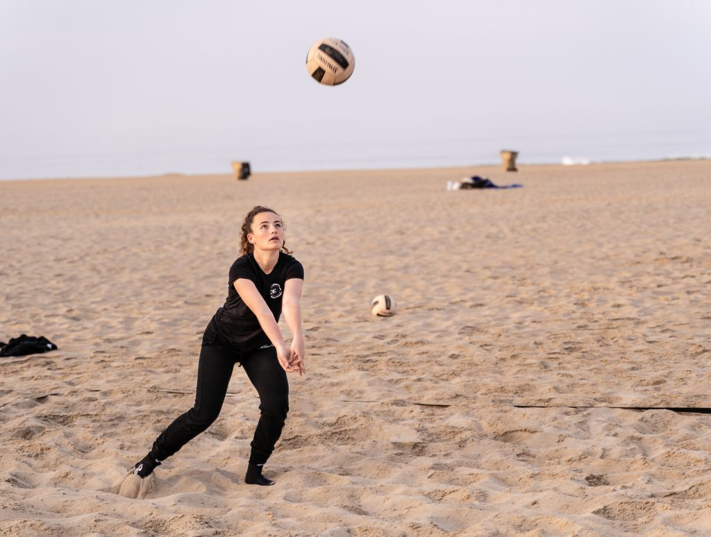"Camilla Wilson, A 5'6"" Freshman From New Roads High, Passes The Ball Out Of The Back Court At SMC Beach Volleyball Practice At Santa Monica Beach On Tuesday, March 26, 2019. The SMC Corsairs Beach Volleyball Season Began In February And Runs Through April 2019. (Glenn Zucman/The Corsair)"