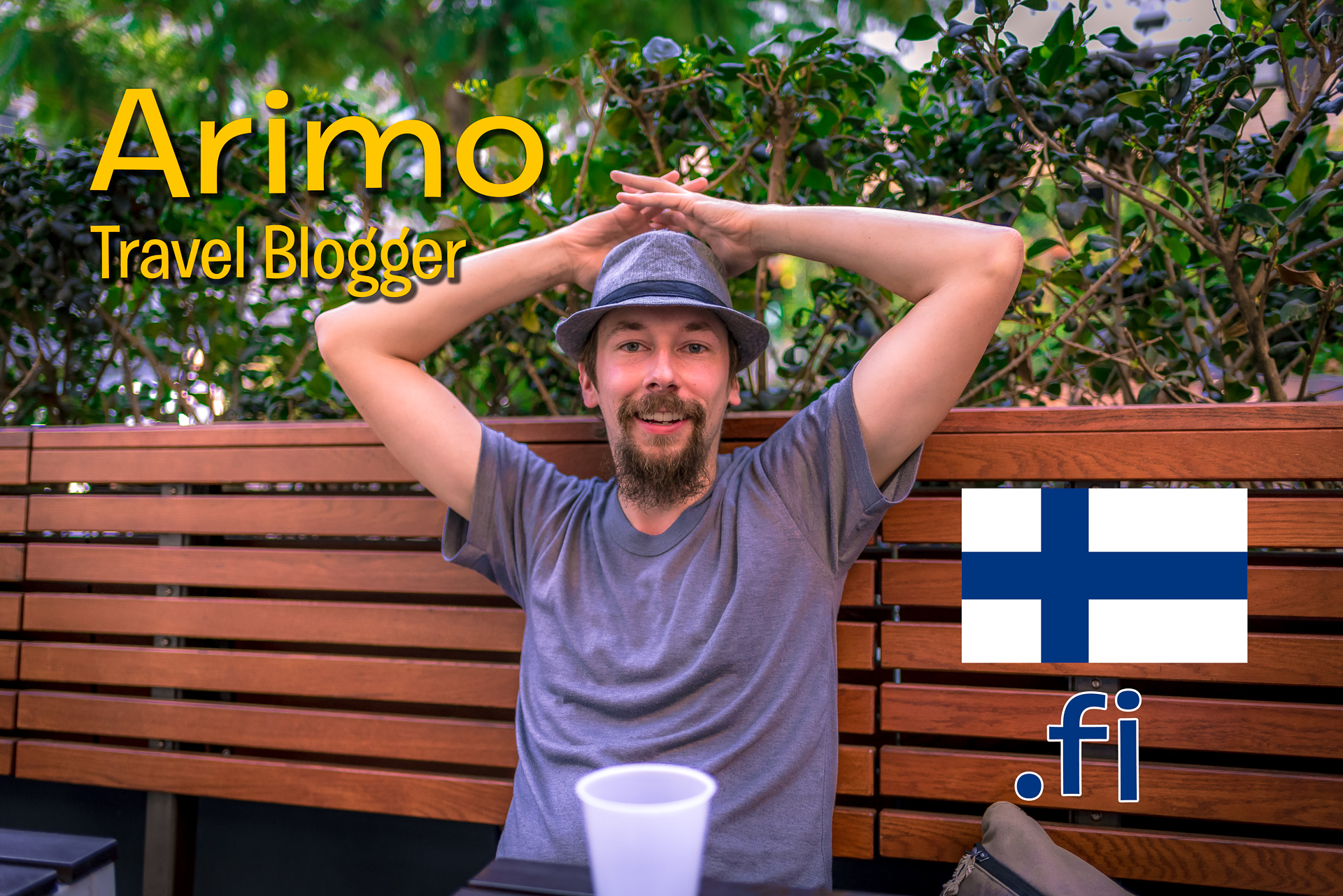 "Arimo Kerkelä at Shake Shack on Hollywood Blvd in Los Angeles. Superimposed type reads ""Arimo, Travel Blogger"" and also includes a small flag of Finland and the Finland TLD "".fi"""