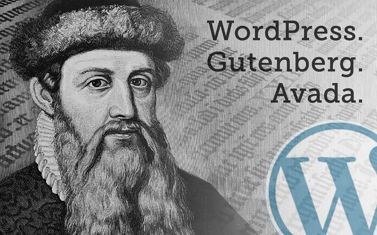 photo of Gutenberg with the WordPress logo